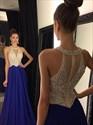 Elegant Royal Blue Halter Neck Beaded Keyhole Chiffon Long Prom Dress
