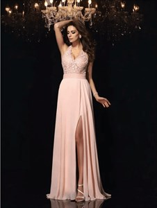 Blush Pink A Line V Neck Applique Chiffon Long Prom Dress With Split