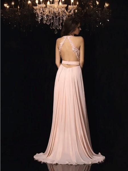 Blush Pink A Line V Neck Applique Chiffon Long Prom Dress With Split