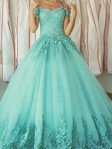 Turquoise Short Sleeve Lace Applique Ball Gown Tulle Prom Dress
