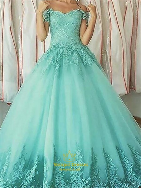 Turquoise Short Sleeve Lace Applique Ball Gown Tulle Prom