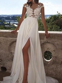 Jewel Neck Short Sleeve Floor Length Chiffon Prom Dress With Split
