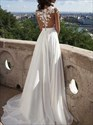 Jewel Neck Short Sleeve Floor Length Chiffon Prom Dress With Split
