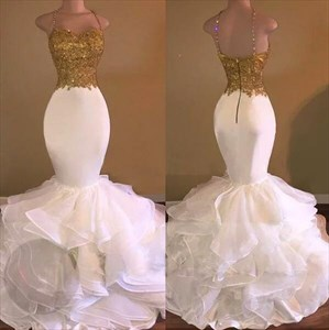 Spaghetti Strap Gold Applique Mermaid Organza Prom Dress With Ruffled