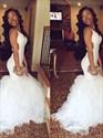 V Neck Sleeveless Cut Out Sheath Mermaid Prom Dress With Ruffles