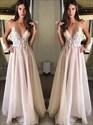 Princess A Line Spaghetti Strap V Neck Applique Chiffon Prom Dress