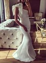 Simple White One Shoulder Sleeveless Sheath Mermaid Satin Prom Dress