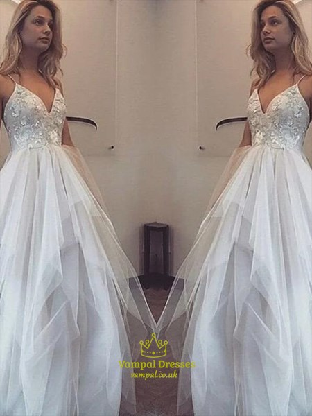 A Line Ivory Spaghetti Strap Sleeveless Applique Tulle Prom Dress