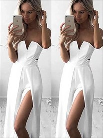 White Strapless Sleeveless Side Cut Out Chiffon Prom Dress With Split