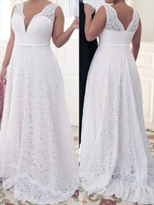 Simple A Line White V Neck Sleeveless Plus Size Lace Prom Dress