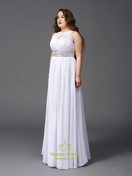 White Jewel Neck Pleated Chiffon Plus Size Prom Dress With Beading