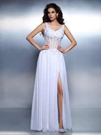 A-Line Sleeveless Beaded Applique Pleated Prom Dress With Split