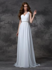 Elegant V Neck Sleeveless Ruched Long Prom Dress With Belt And Train