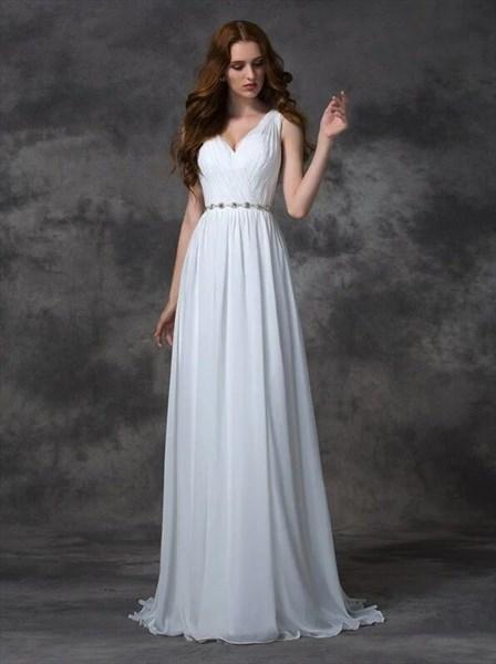 Elegant V Neck Sleeveless Ruched Long Prom Dress With Belt And Train