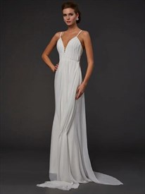 Ivory Spaghetti Strap Sleeveless Ruched Bodice Chiffon Prom Dress