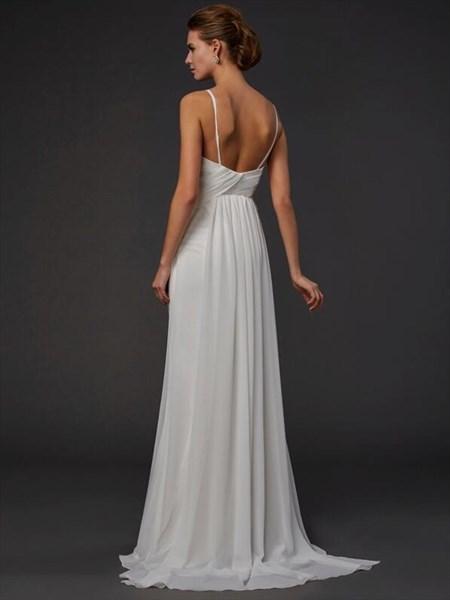 Ivory Spaghetti Strap Sleeveless Ruched Bodice Chiffon Prom Dress