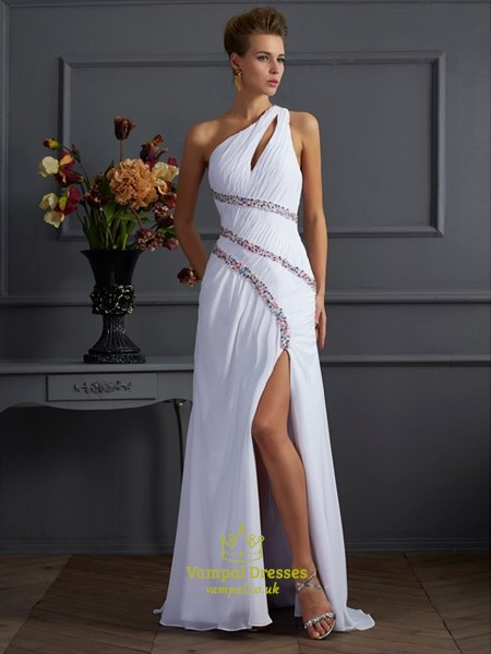 One Shoulder Sleeveless Ruched Sheath Beaded Prom Dress With Split
