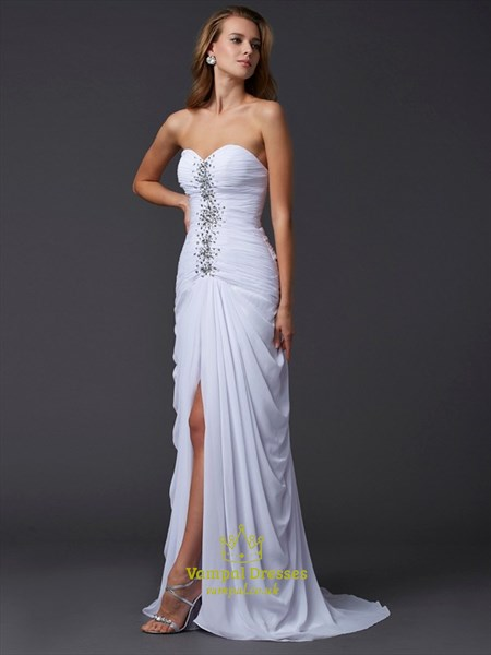 Sweetheart Sleeveless Ruched Chiffon Beaded Prom Dress With Split