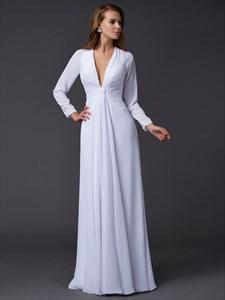 Simple White Deep V Neck Long Sleeve Ruched Waist Chiffon Prom Dress