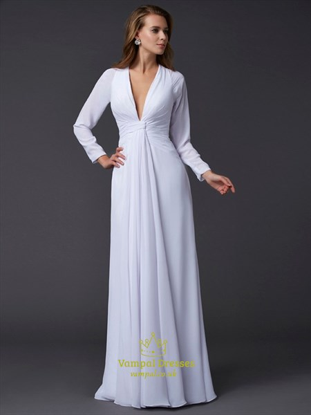 Simple White Deep V Neck Long Sleeve Ruched Waist Chiffon Prom Dress