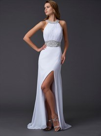 Halter Neck Beaded Sleeveless Ruched Chiffon Prom Dress With Split
