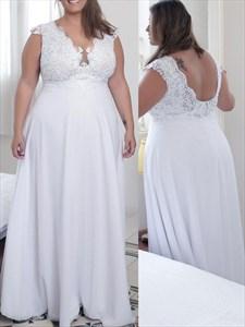 V Neck Cap Sleeve Applique Low Back Plus Size Chiffon Prom Dresses