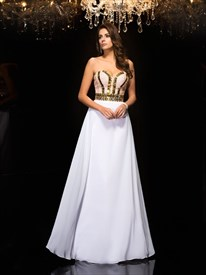Sweetheart Neckline Sleeveless Beaded Chiffon Prom Dress With Sequins