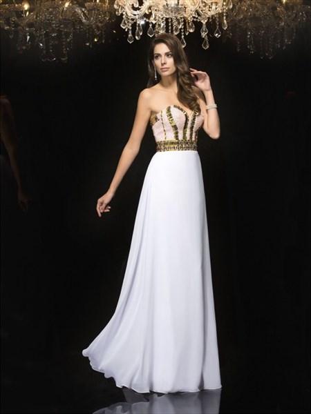 Sweetheart Neckline Sleeveless Beaded Chiffon Prom Dress With Sequins