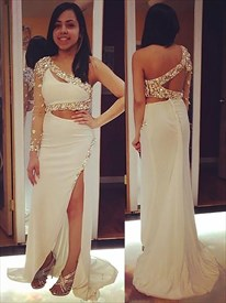 One Shoulder One Sleeve Crystal Side Cutout Prom Dress With Split