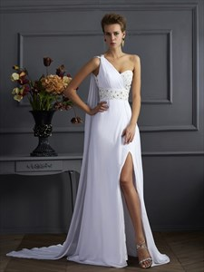 0ne Shoulder Sleeveless Crystal Beaded Ruched Prom Dress With Split