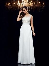 Simple A Line Bateau Beaded Sleeveless Applique Chiffon Prom Dress