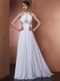 Elegant A Line Halter Neck Sleeveless Beaded Open Back Prom Dress