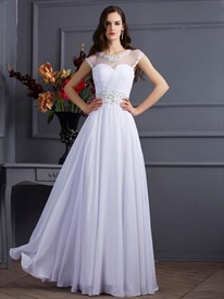 A Line Jeweled Neckline Keyhole Chiffon Prom Dress With Beaded Waist