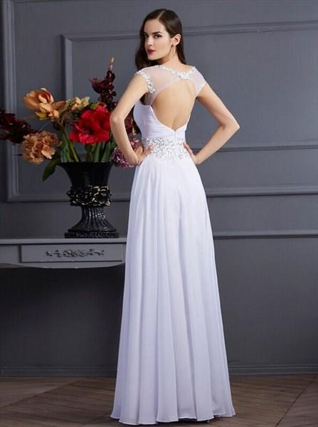 A Line Jeweled Neckline Keyhole Chiffon Prom Dress With Beaded Waist