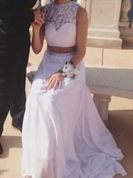 High Neck Beaded Sleeveless Applique Chiffon Two Piece Prom Dress