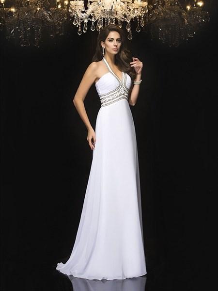 Halter Neck Sleeveless Beaded Ruched Floor Length Chiffon Prom Dress
