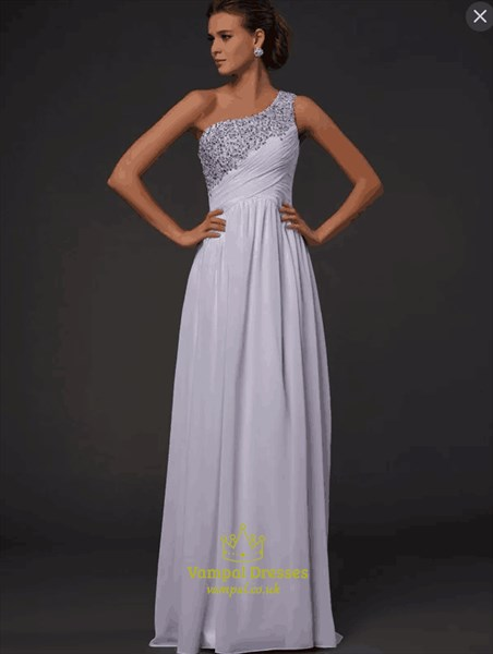 Simple One Shoulder Sleeveless Beaded Ruched Chiffon Prom Dress