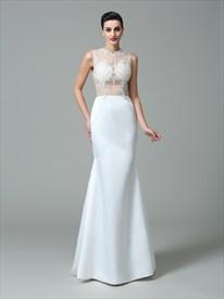 High Neck Sleeveless Illusion Back Applique Sheath Satin Prom Dress