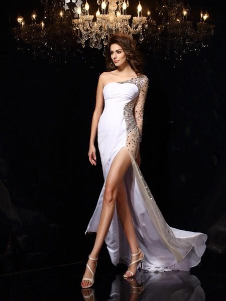 One Shoulder One Sleeve Crystal Sheath Chiffon Prom Dress With Split