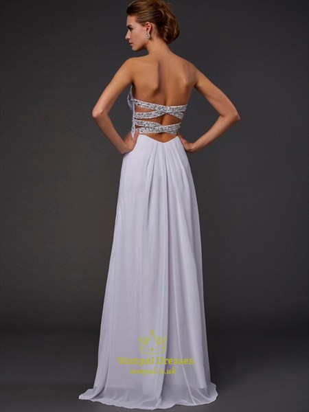Sweetheart Sleeveless Beaded Ruched Chiffon Prom Dress With Split