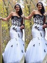 White Sweetheart Sleeveless Mermaid Prom Dress With Black Applique