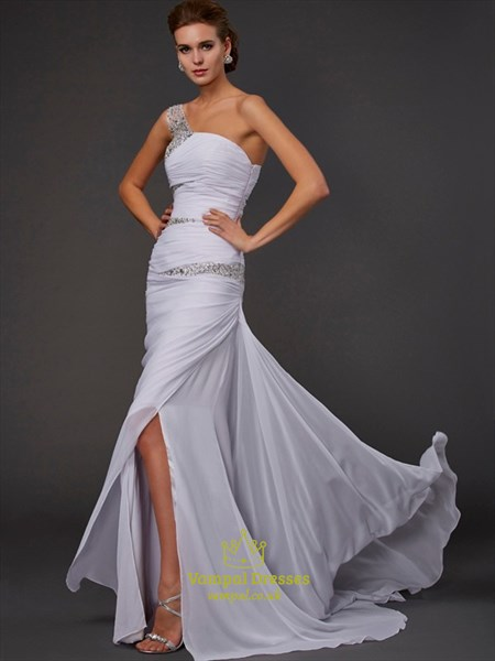 One Shoulder Beaded Ruched Chiffon Prom Dress With Split And Train