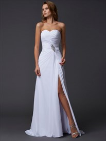 A Line White Strapless Floor Length Chiffon Prom Dress With Crystals