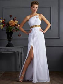 White One Shoulder Ruched Prom Dress With Gold Rhinestones And Split