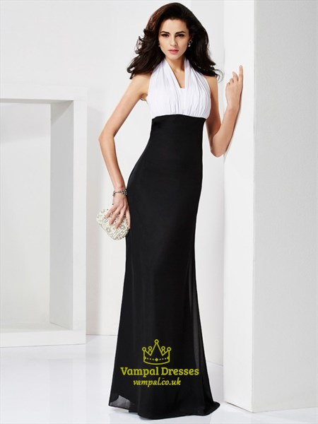 Black And White Halter Neck Sleeveless Sheath Floor Length Prom Dress