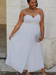 Sweetheart Sleeveless Ruched Plus Size Tea Length Chiffon Prom Dress