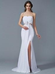 White Sweetheart Sleeveless Crystal Sheath Prom Dress With Split