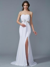 White Sweetheart Sleeveless Crystal Sheath Prom Dress With Split