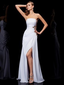 Strapless Sleeveless Gold Applique Chiffon Prom Dress With Split