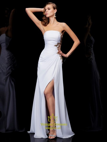 Strapless Sleeveless Gold Applique Chiffon Prom Dress With Split